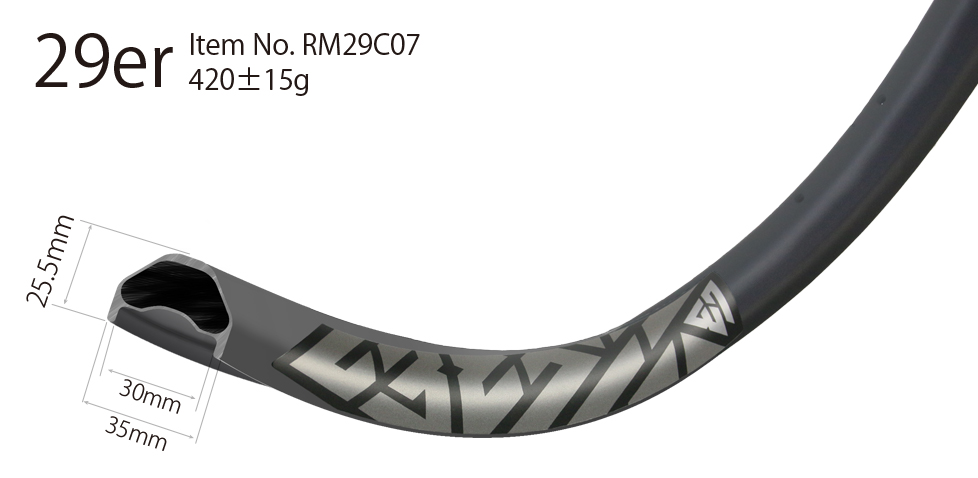 35mm wide 29er rims beadless for bicycle trail or mountain bike enduro with tubeless compatibility