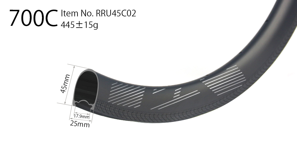 45mm deep carbon 700C 25mm wide road rim clincher U shape tubeless compatible high TG resin surface