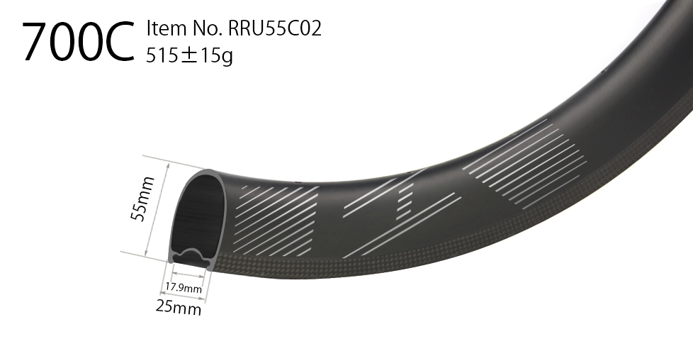 55mm deep carbon 700C 25mm wide road rim clincher U shape tubeless compatible high TG resin surface