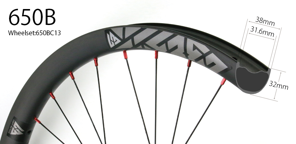 650B Hand-built Endro Downhill MTB wheelset 38mm wide 27.5 inch wheels tubeless ready