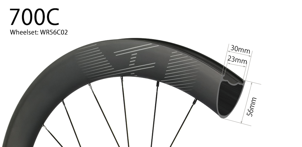 700C V-shape 56mm depth hand-built carbon road disc wheels - 30mm wide and tubeless compatible