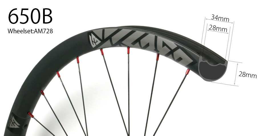 Hand-built AM728 asymmetric rim profile carbon fiber mtb 650B wheels