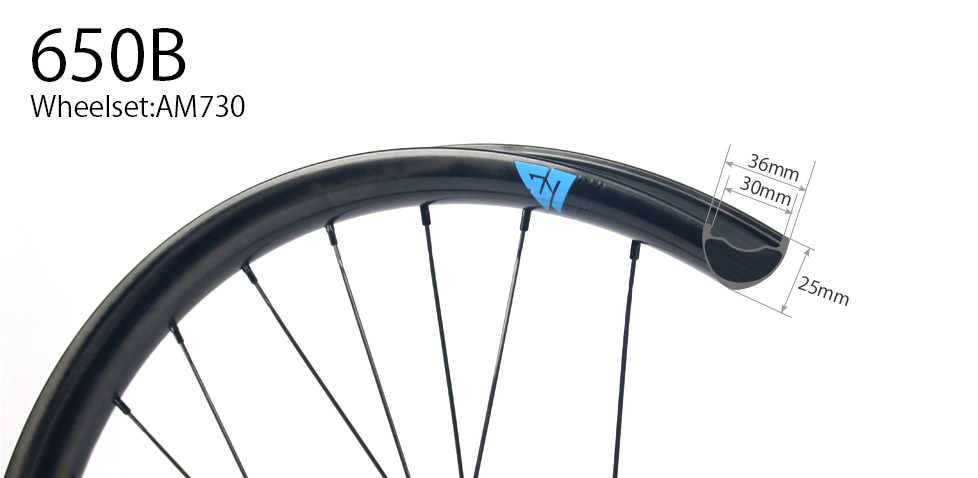 Hand-built AM730 asymmetric rim profile carbon fiber mtb 650B wheels