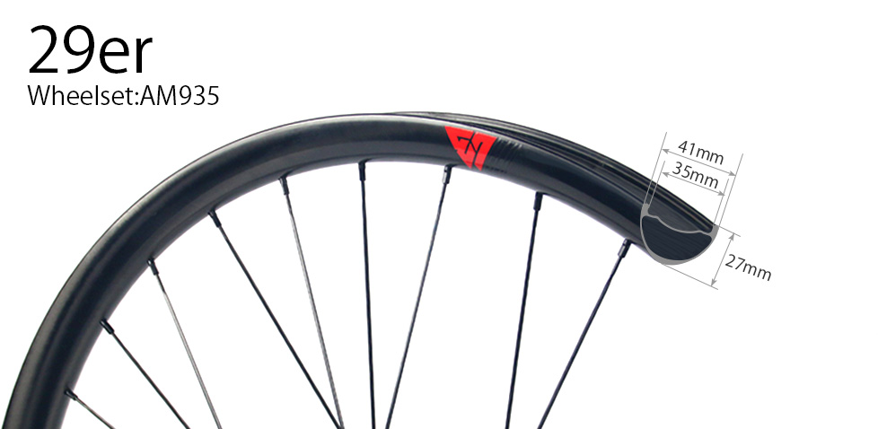 Hand-built AM935 asymmetric rim profile carbon fiber mtb 29er wheels