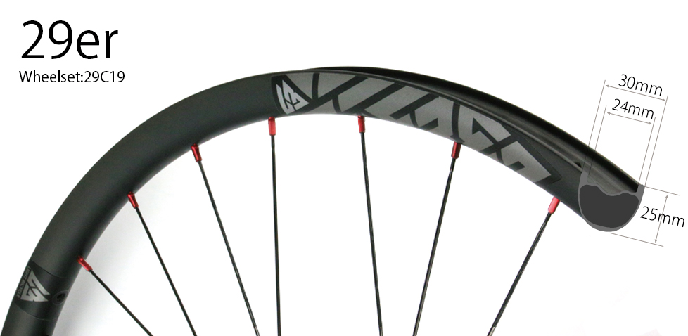 Hand-built All Mountain Cross country carbon 29er MTB wheelset 30mm wide tubeless compatible