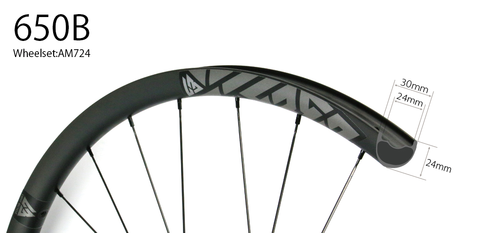 Hand-built carbon AM724 asymmetric 27.5 mtb all mountain 650B wheels tubeless compatible