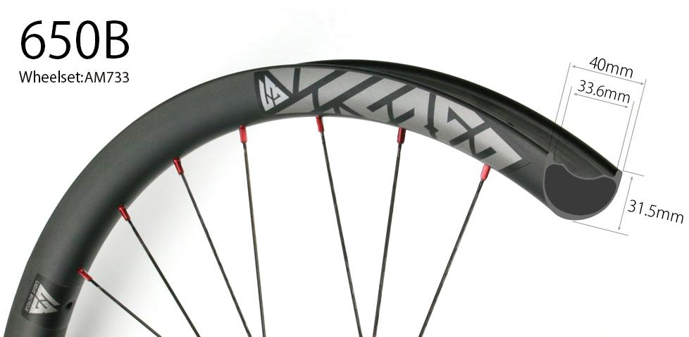 Hand-built carbon AM733 asymmetric 27.5 mtb Enduro 650B wheels tubeless compatible