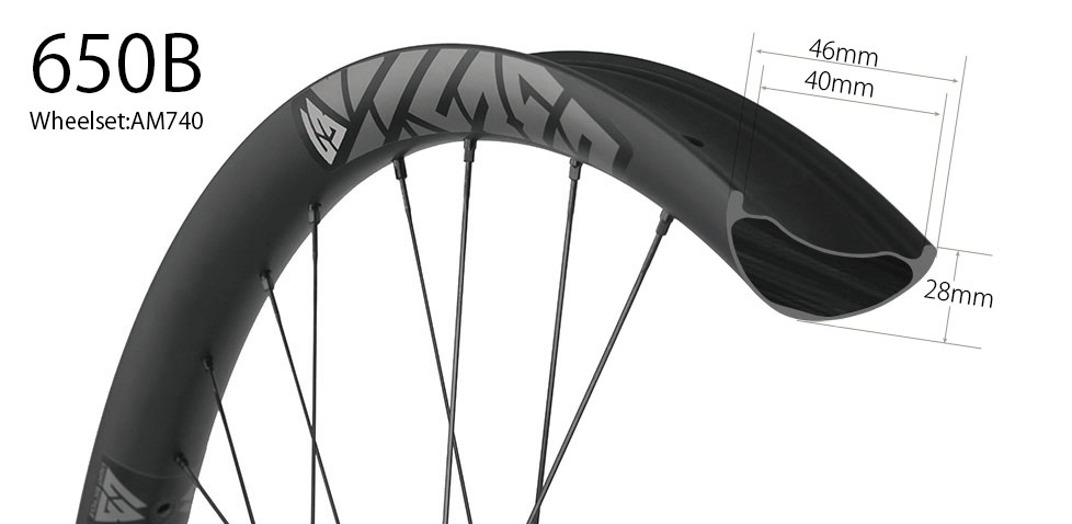 Hand-built carbon AM740 asymmetric 27.5 inch mountain bike 650b wheels 46mm wide tubeless compatible