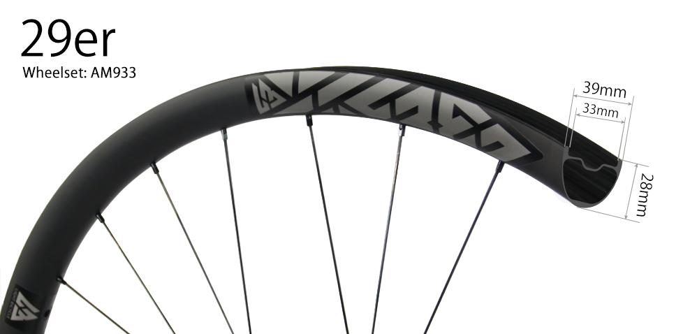 Hand-built carbon AM933 asymmetric 29er mtb Enduro wheels tubeless compatible