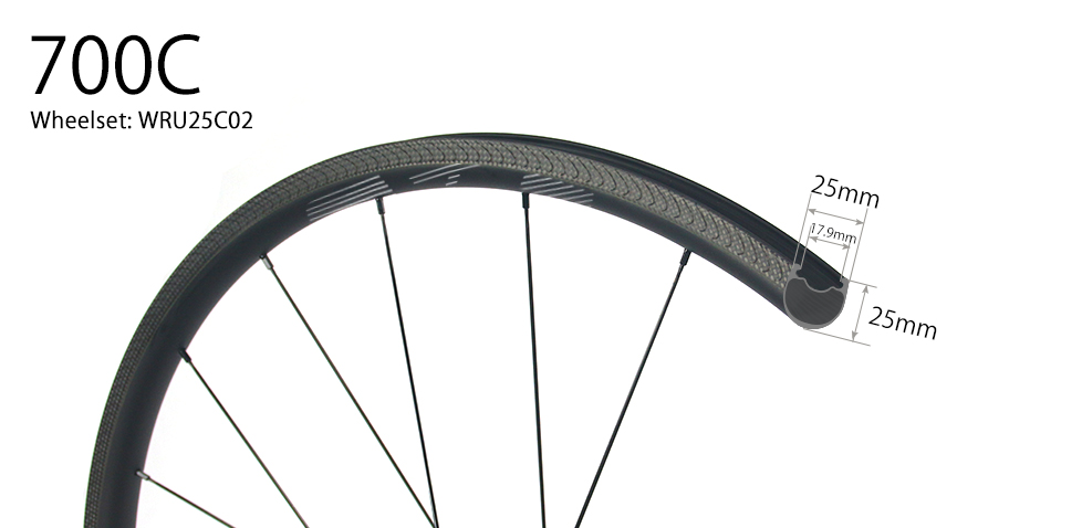 U shape 25mm depth Hand-built 700C carbon 25mm wide clincher road bicycle wheels for tubeless compatible