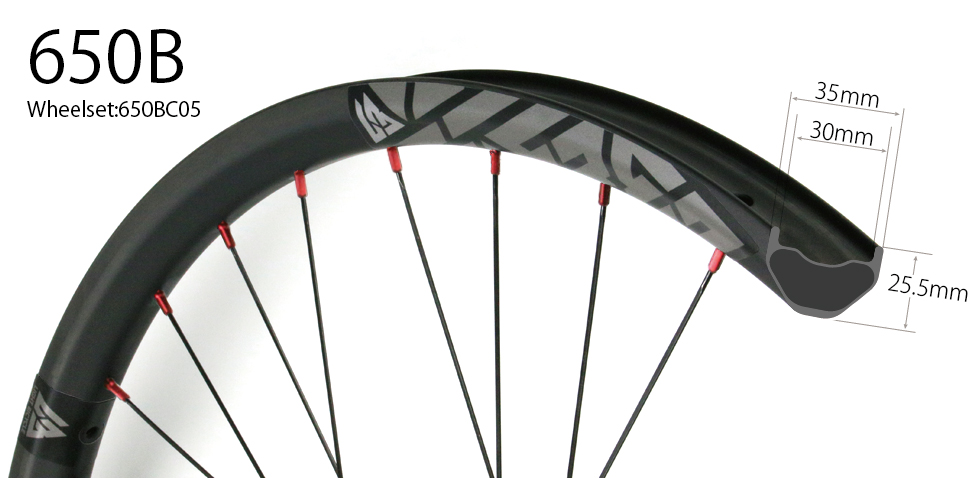 beadless carbon 650B mountain bike wheelset with 35mm wide tubeless compatible hand-built MTB wheels 27.5