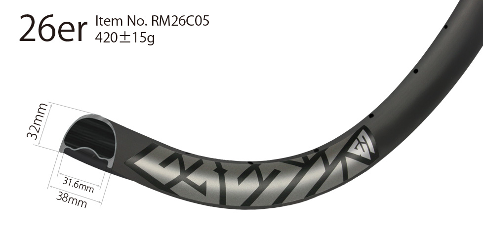 enduro downhill mtb 26er carbon rims 38mm wide hookless tubeless compatible strongest