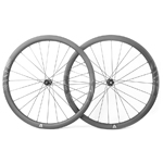 700C V-shape 36mm depth hand-built carbon road disc wheels - 28mm wide and tubeless compatible