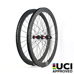 700C V-shape 46mm depth hand-built carbon road wheels - 28mm wide and tubeless compatible