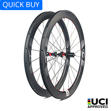 U shape 45mm depth  Hand-built 700C carbon 25mm wide clincher road bicycle wheels for tubeless compatible