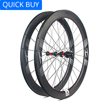 U shape 55mm depth Hand-built 700C carbon 25mm wide clincher road bicycle wheels for tubeless compatible