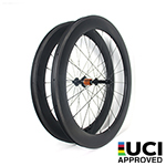 65mm depth Hand-built 700C carbon 25.85mm wide hooked road bicycle wheels for tubeless compatible