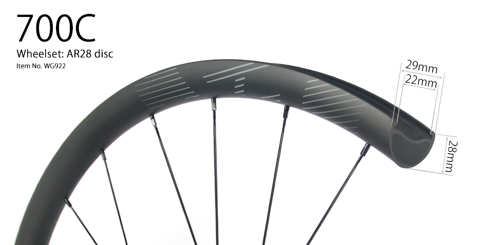 29er disc bike wheels 29mm wide 28mm deep clincher for cyclocross road and gravel bikes
