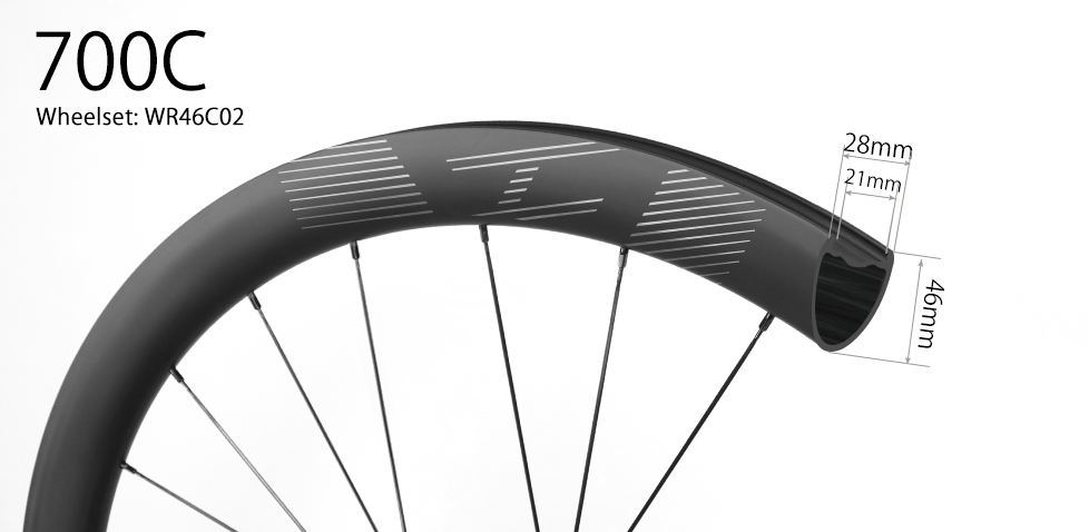 700C V-shape 46mm depth hand-built carbon road disc wheels - 28mm wide and tubeless compatible