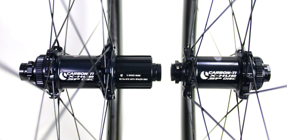 55mm carbon rim laced with Carbon Ti hubs
