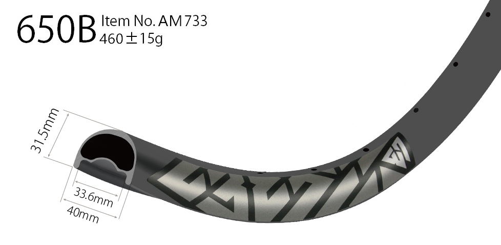 AM733 asymmetric rim profile carbon 27.5 inch carbon rims mtb