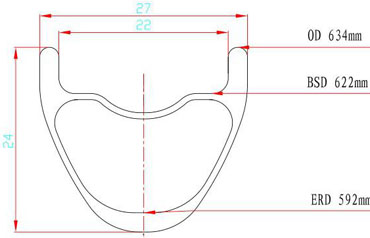 hook-less carbon 29er rims cross-section drawing