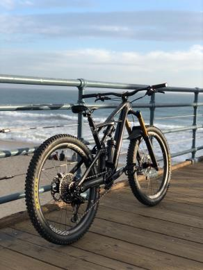 650b carbon fiber wheels built with Hope hubs by the ocean